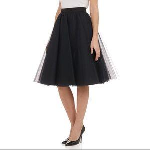 Soprano Black Tulle Midi A-Line Skirt Elastic Wais